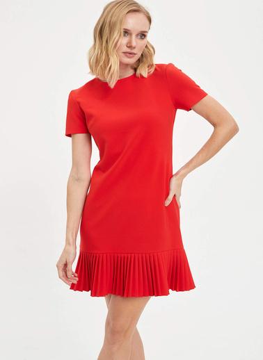 DeFacto Etek Ucu Pileli Kısa Kollu Elbise Kırmızı
